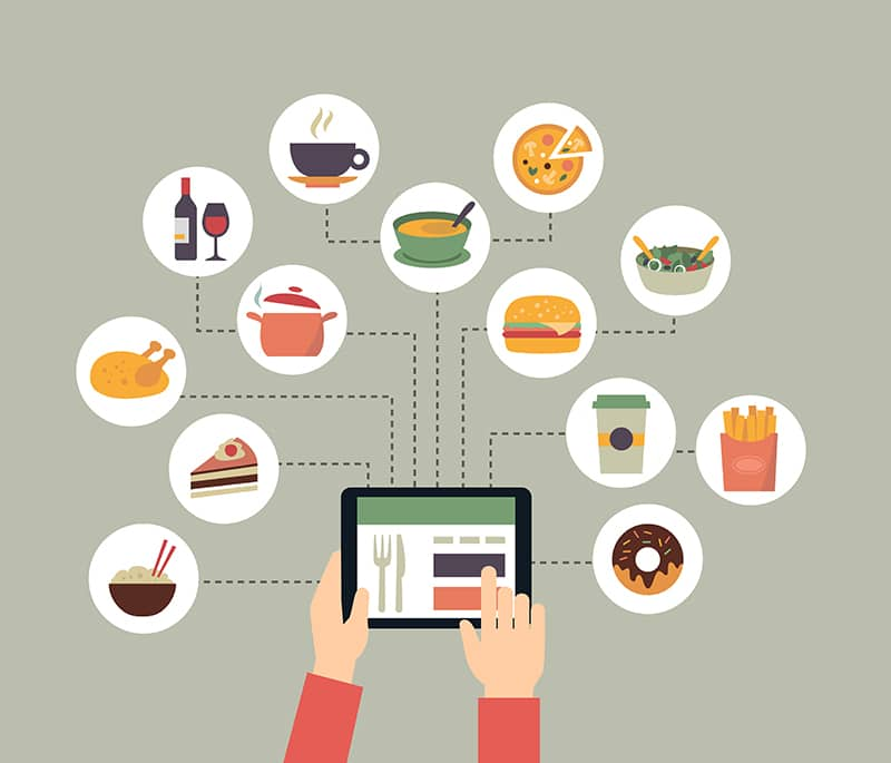 person searching for food options on tablet