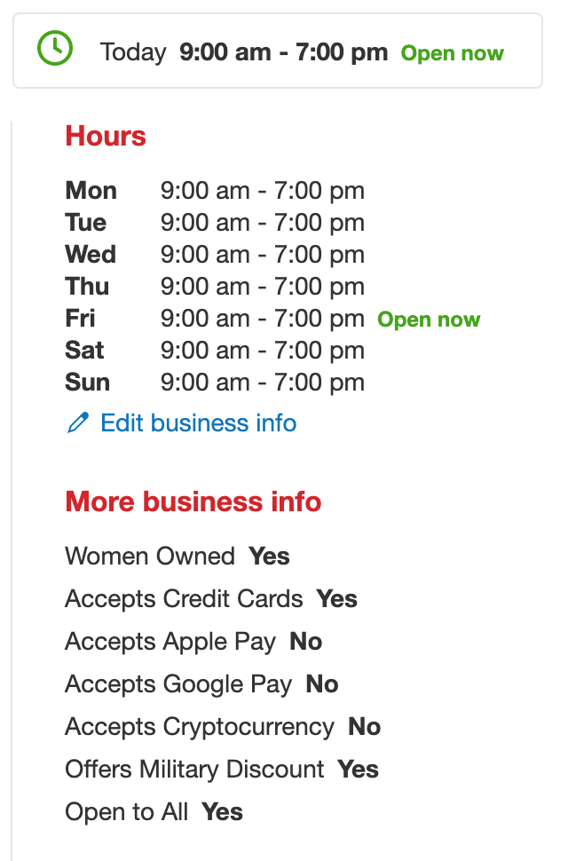 business information on Yelp