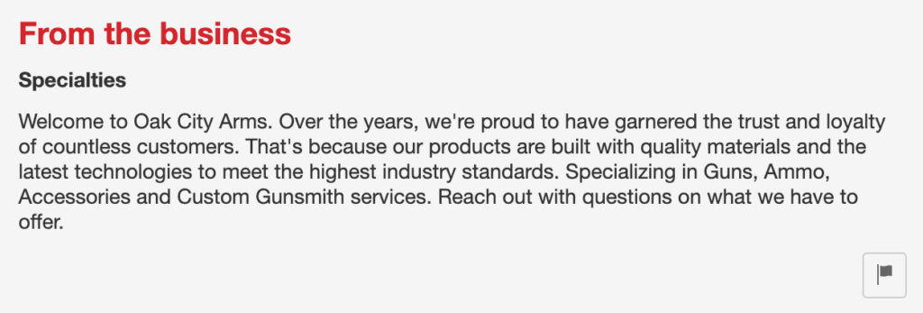 from the business statement on Yelp